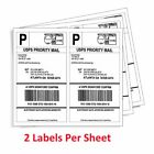 200-4000 Half Sheet 8.5x5.5 Shipping Labels 2sheet Self Adhesive For Usps