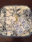 222 Fifth Blue Adelaide Set of Four Square DessertPlates French - Toile Bird New