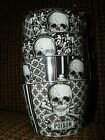 Set of 4 HALLOWEEN SKULLS 222 Fifth Black/White New Appetizer Bowls, Candy Dish