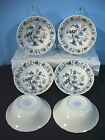 Nikko Double Phoenix Ming Tree Berry Bowls Set of 6 White Blue Flower Ironstone
