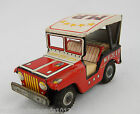 Vintage Japan Tin Friction Motor Red M.P. Jeep Clean & Working