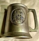 VINTAGE RWP WILTON ARMETALE PEWTER BEER STEIN TANKARD MUG COAT OF ARMS W KNIGHTS