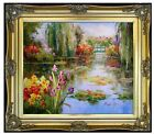 Framed, Claude Monet Water Lily Pond Repro 6, Hand Painted Oil Painting 20x24in