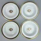 4 Christian Dior Dior Monogram Fine China Black & Gold Rim Soup Bowls