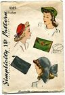 VINTAGE 1938 LADIES CHIC HAT3 STYLES AND BAG 2 STYLES PATTERN-UNUSED-COMPLETE