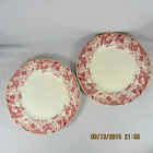 Johnson Brothers Strawberry Fair dinner plates set 2 pink white berries flowers