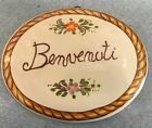 Vietri Pottery-5,1/2x4,1/2 inch Benvenuti wall plaque.Made/Painted in Italy