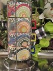 Pier 1 One Stacking Coffee MUGS Cups in Chrome Holder Paisley Bright Colors