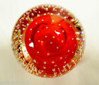 VTG Clear  Red Controlled Bubbles Art Glass Paperweight
