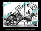 OLD LARGE HORSE RACING PHOTO OF RANCHER WINNING THE BLUE DIAMOND STAKES 1982