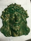 JESUS HEAD RESIN WALL ART YARD ART APPRX 12X11 PAINTED GREEN RELIGIOUS CATHOLIC