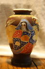 Vintage Japan Japanese Satsuma Moriage Enamel Relief Hand Painted Vase
