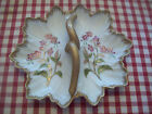 Vintage Candy Dish Divided with Handle Flowers Gold Trim Handpainted Ceramic
