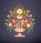FABRIC COTTON AMERICAN FOLK ART MUSEUM FLORAL HOME SWEET HOME PANEL SQUARE - OOP