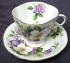 CLARENCE BONE CHINA CUP & SAUCER MADE IN ENGLAND CLEMANTIS FLOWERS