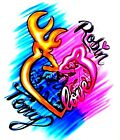 Browning Couple Heart Airbrushed T Shirt Sweetheart Love Buck  Doe All Sizes