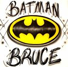 BATMAN CUSTOM T SHIRT AIRBRUSHED WITH YOUR NAME ALL SIZES AVAILABLE