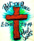 CUSTOM RIP WOOD CROSS REST IN PEACE AIRBRUSHED T SHIRT DATES