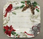 222 Fifth Holiday Wishes Dinner Plates Set Of 4 Christmas Cardinal Poinsettia