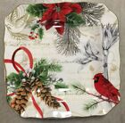 222 Fifth Holiday Wishes Salad Plates Set Of 4 Christmas Cardinal Poinsettia