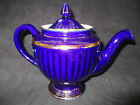 Hall 6 Cup Teapot, Cobalt Blue with Gold Colored Trim