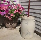 Antique Vtg Red Wing 4 Gallon Birch Leaf Stoneware Butter Churn, Lid, Plunger