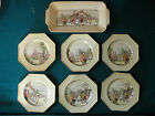 VINTAGE 6 OCTANGULAR PLATE  + 1 PLATTER FROM L+SONS HANLEY MADE IN ENGLAND
