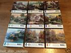 100% COMPLETE 9 Lot 1000 pc Thomas Kinkade Puzzle Ceaco Cabin Cottage painting
