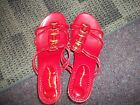 Cloud Walkers sandles 10 w womens red with gold buckles NEW faux cork 3 in heel