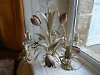French 5 light vintage chandelier tole tulips flowers and leaves fabulous