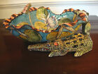 NEW ARDMORE CERAMIC STUDIO Whimsical 2 CROCODILES Unique BLUE BOWL Handmade ZAR