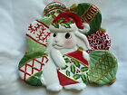 Fitz & Floyd Christmas Bunny Blooms Canape Plate, New in Box!