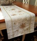 6ft Lurex Pearl White Gold Christmas Holly Leaves Fabric Table Runner 13x72