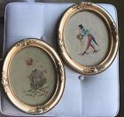 PAIR OF ANTIQUE VICTORIAN GESSO WOOD FRAMES WITH BOY MEETS GIRL NEEDLEPOINT