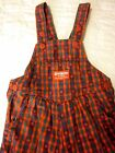 VTG 80s mod retro GIRLS OSH KOSH red apple BIB OVERALLS 24 Month FALL checkered