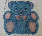 Vintage 70s fabric pillow panel BLUE BEAR Pink Bow cut n sew stuffed animal