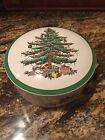 Spode CHRISTMAS TREE Green Trim Pattern Round Lidded CANDY 5