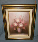 Robert Cox - Original Oil Painting Flowers Pink Roses - Signed - Beautiful!