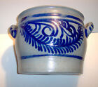 Salt Glazed Stoneware Crock with Handles, Cobalt blue designs, 9