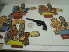 Vintage Frandine Toy Tin Rubber Band Gun with 5 cardboard Indian targets