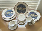 1989 ONEIDA HOLIDAY HARBOR 4 DINNER PLATES 4 TEA CUP W ROUND HANDLE
