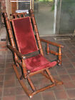 Vintage Victorian Angled Spindle Wooden Rocking Chair