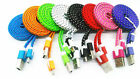 1M 3ft Braided Fabric Micro USB DataSync Charger Cable Cord For Samsung 18a25