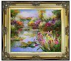 Framed, Claude Monet Water Lily Pond Repro 7, Hand Painted Oil Painting 20x24in