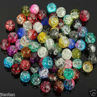 Hot Glass Mixed Round Crackle Crystal Charms Beads Jewelry Making 4 6 8 10 12mm
