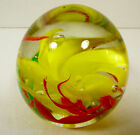 VTG Clear Yellow Red Floral Swirl Art Glass Gavin Heath Signed Paperweight