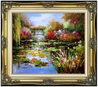 Framed, Claude Monet Water Lily Pond Repro III Hand Painted Oil Painting 20x24in
