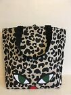 NEW LULU GUINNESS Shopper Tote Bag Wild Cat Eye  Animal Print LIMITED EDITION