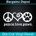 Vinyl DecalPEACE LOVE PAWS  Nice Size Car Laptop Dog Decal Sticker