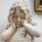 Antique Alabaster Bust of Young Girl Curly Hair Shy Face late 19th/Early 20th C.